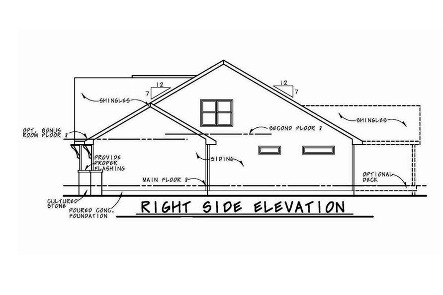 Home Plan Right Elevation of this 4-Bedroom,2116 Sq Ft Plan -120-2576