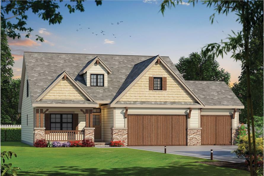 4-Bedroom, 2116 Sq Ft Craftsman Home Plan - 120-2576 - Main Exterior