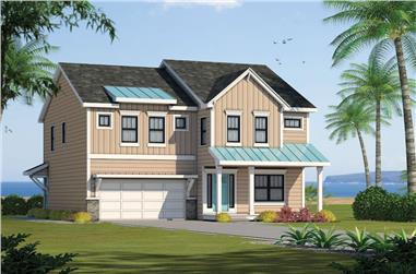 4-Bedroom, 2500 Sq Ft Coastal Home Plan - 120-2581 - Main Exterior