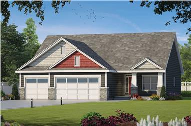 3-Bedroom, 1676 Sq Ft Ranch Home Plan - 120-2589 - Main Exterior