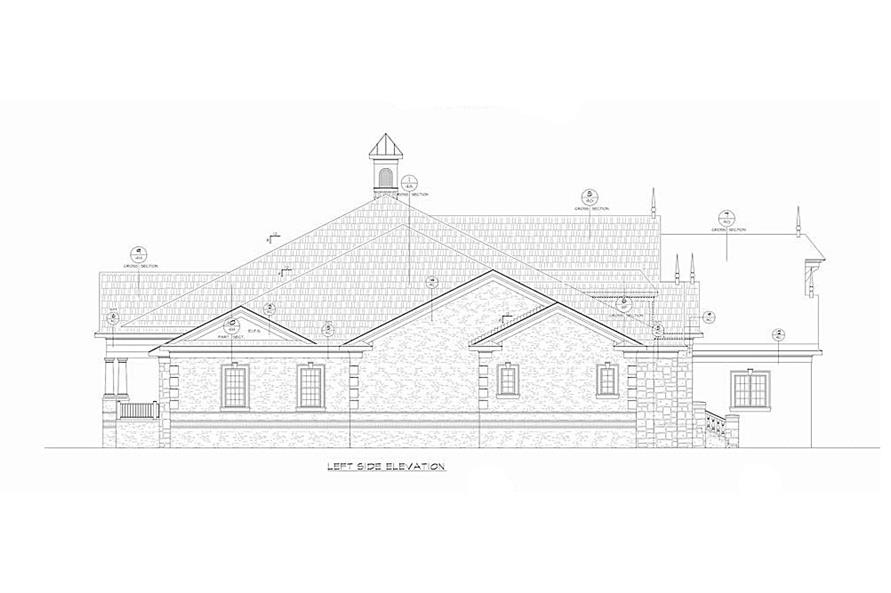 Home Plan Left Elevation of this 4-Bedroom,7350 Sq Ft Plan -120-2593