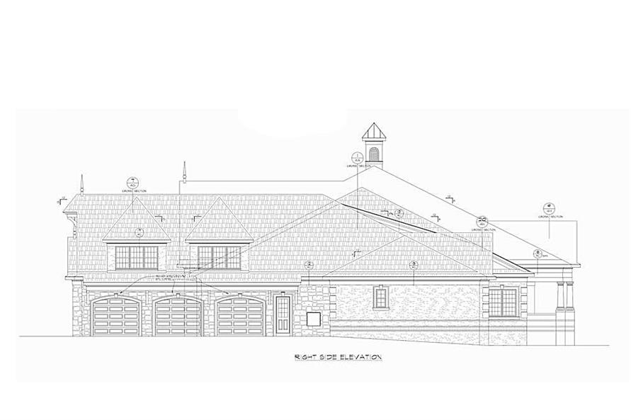 Home Plan Right Elevation of this 4-Bedroom,7350 Sq Ft Plan -120-2593