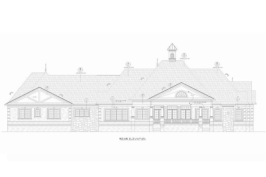 Home Plan Rear Elevation of this 4-Bedroom,7350 Sq Ft Plan -120-2593