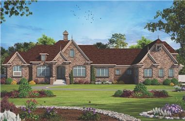 4-Bedroom, 7350 Sq Ft French Home Plan - 120-2593 - Main Exterior