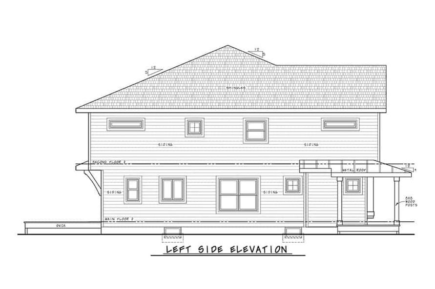 Home Plan Left Elevation of this 2-Bedroom,1291 Sq Ft Plan -120-2596