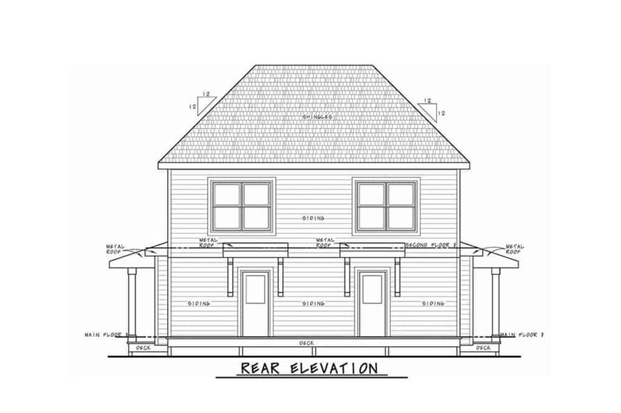 Home Plan Rear Elevation of this 2-Bedroom,1291 Sq Ft Plan -120-2596