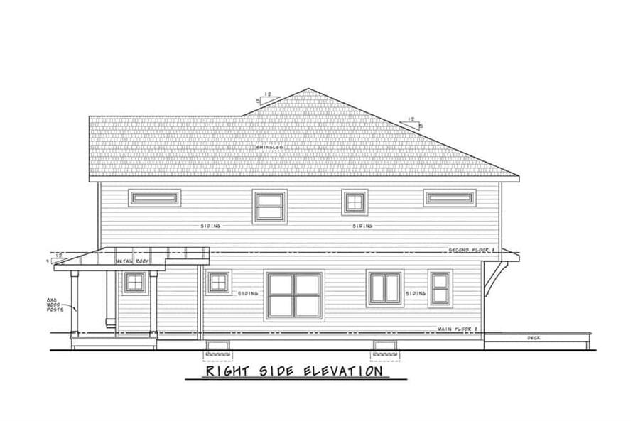 Home Plan Right Elevation of this 2-Bedroom,1291 Sq Ft Plan -120-2596
