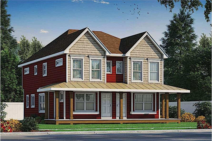 2-Bedroom, 1291 Sq Ft Country Home Plan - 120-2596 - Main Exterior