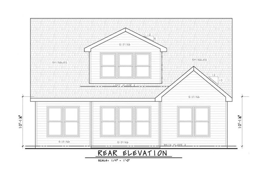 Home Plan Rear Elevation of this 3-Bedroom,2666 Sq Ft Plan -120-2597