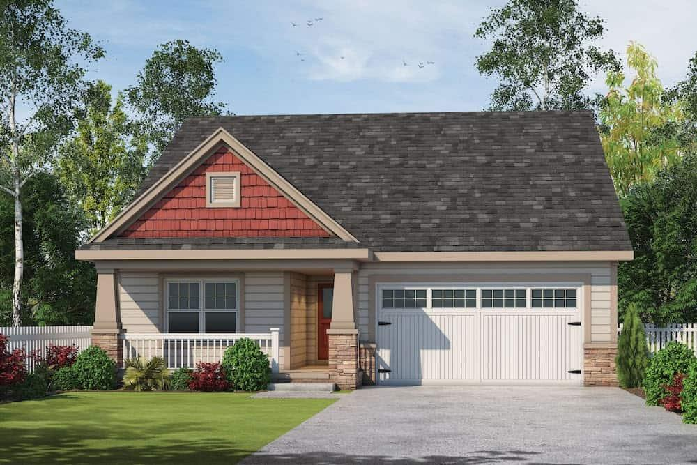 Front elevation of Ranch home (ThePlanCollection: House Plan #120-2597)