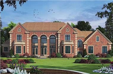 5-Bedroom, 7063 Sq Ft European Home Plan - 120-2601 - Main Exterior