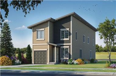 3-Bedroom, 1277 Sq Ft Contemporary Home Plan - 120-2604 - Main Exterior