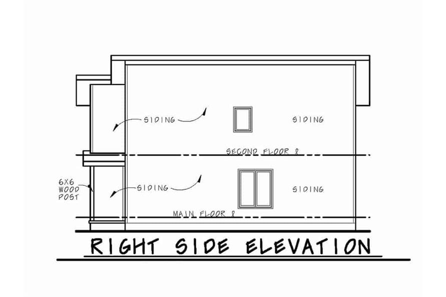 Home Plan Right Elevation of this 3-Bedroom,1277 Sq Ft Plan -120-2621
