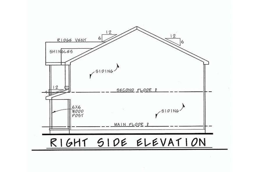 Home Plan Right Elevation of this 3-Bedroom,1540 Sq Ft Plan -120-2635