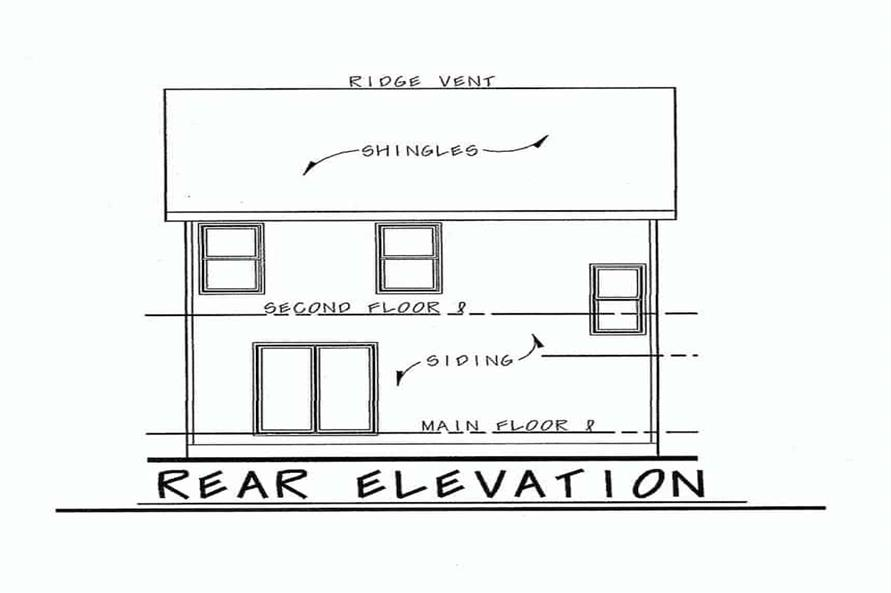 Home Plan Rear Elevation of this 3-Bedroom,1540 Sq Ft Plan -120-2635