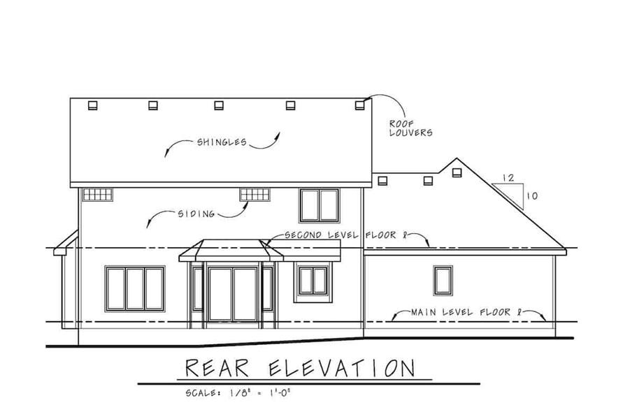 Home Plan Rear Elevation of this 3-Bedroom,2264 Sq Ft Plan -120-2637