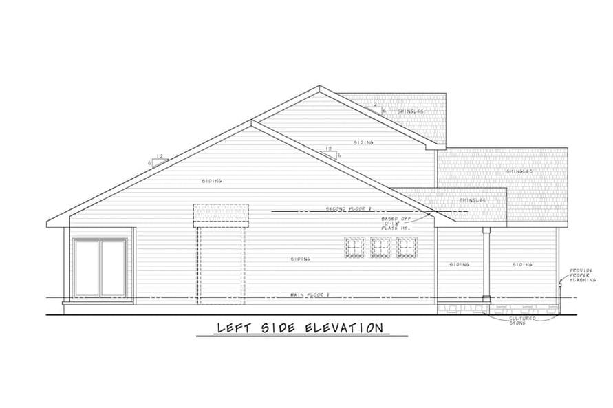 Home Plan Left Elevation of this 4-Bedroom,2154 Sq Ft Plan -120-2640