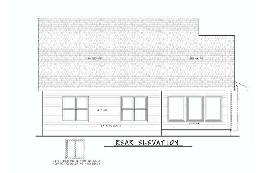 Home Plan Rear Elevation of this 4-Bedroom,2154 Sq Ft Plan -120-2640