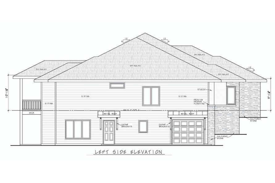 Home Plan Left Elevation of this 5-Bedroom,3743 Sq Ft Plan -120-2644