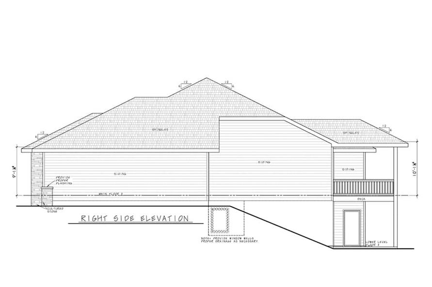 Home Plan Right Elevation of this 5-Bedroom,3743 Sq Ft Plan -120-2644