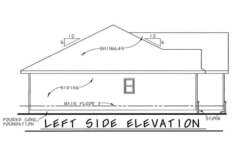 Home Plan Left Elevation of this 1-Bedroom,1136 Sq Ft Plan -120-2645