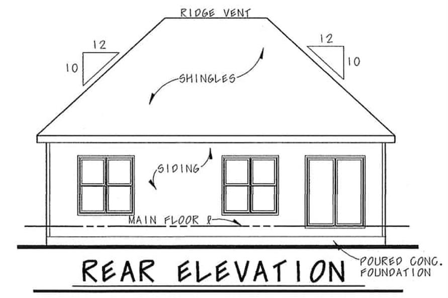 Home Plan Rear Elevation of this 1-Bedroom,1136 Sq Ft Plan -120-2645