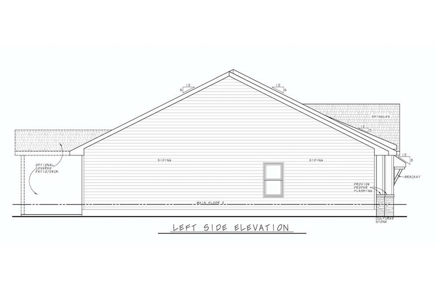 Home Plan Left Elevation of this 3-Bedroom,1603 Sq Ft Plan -120-2647