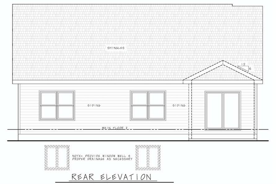 Home Plan Rear Elevation of this 3-Bedroom,1603 Sq Ft Plan -120-2647
