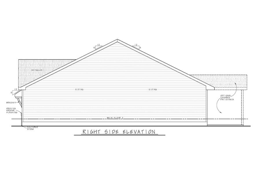 Home Plan Right Elevation of this 3-Bedroom,1603 Sq Ft Plan -120-2647