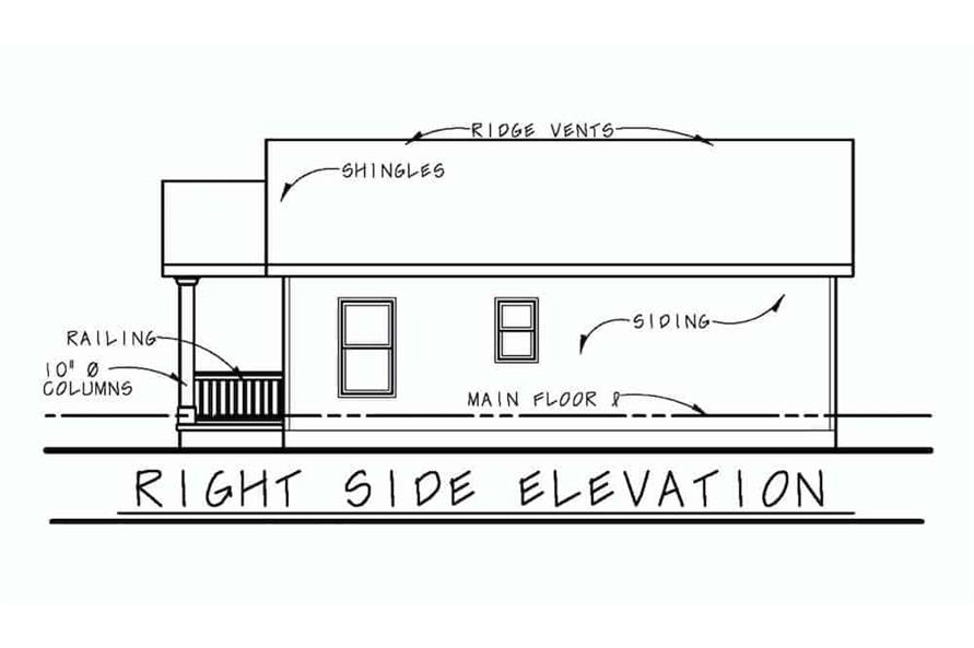 Home Plan Right Elevation of this 2-Bedroom,800 Sq Ft Plan -120-2655
