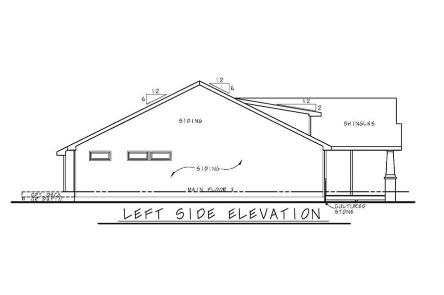 Home Plan Left Elevation of this 3-Bedroom,1195 Sq Ft Plan -120-2656