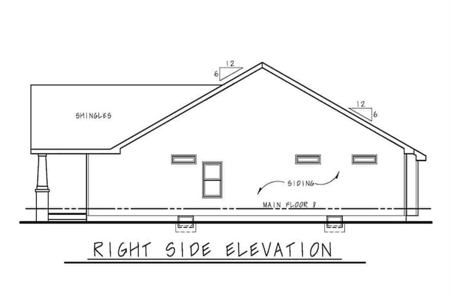 Home Plan Right Elevation of this 3-Bedroom,1195 Sq Ft Plan -120-2656