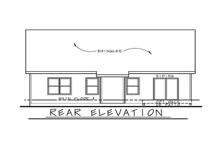 Home Plan Rear Elevation of this 3-Bedroom,1195 Sq Ft Plan -120-2656