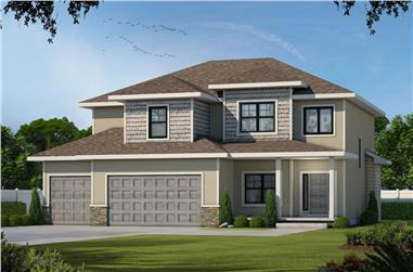 4-Bedroom, 2738 Sq Ft Contemporary House - Plan #120-2664 - Front Exterior