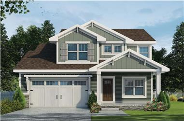 3-Bedroom, 2506 Sq Ft Arts and Crafts House Plan - 120-2678 - Front Exterior