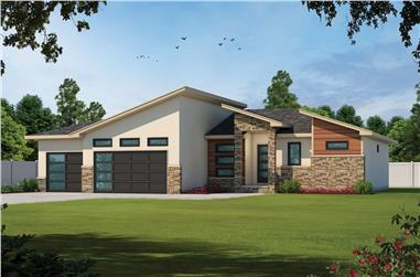 3-Bedroom, 2846 Sq Ft Contemporary House - Plan #120-2695 - Front Exterior