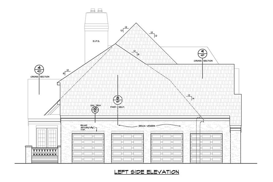 Home Plan Left Elevation of this 6-Bedroom,5963 Sq Ft Plan -120-2700