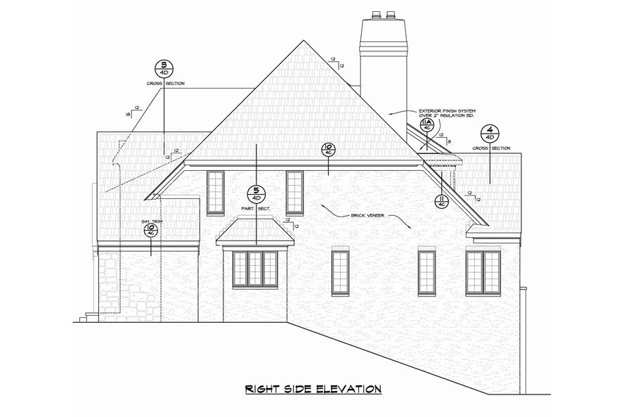 Home Plan Right Elevation of this 6-Bedroom,5963 Sq Ft Plan -120-2700
