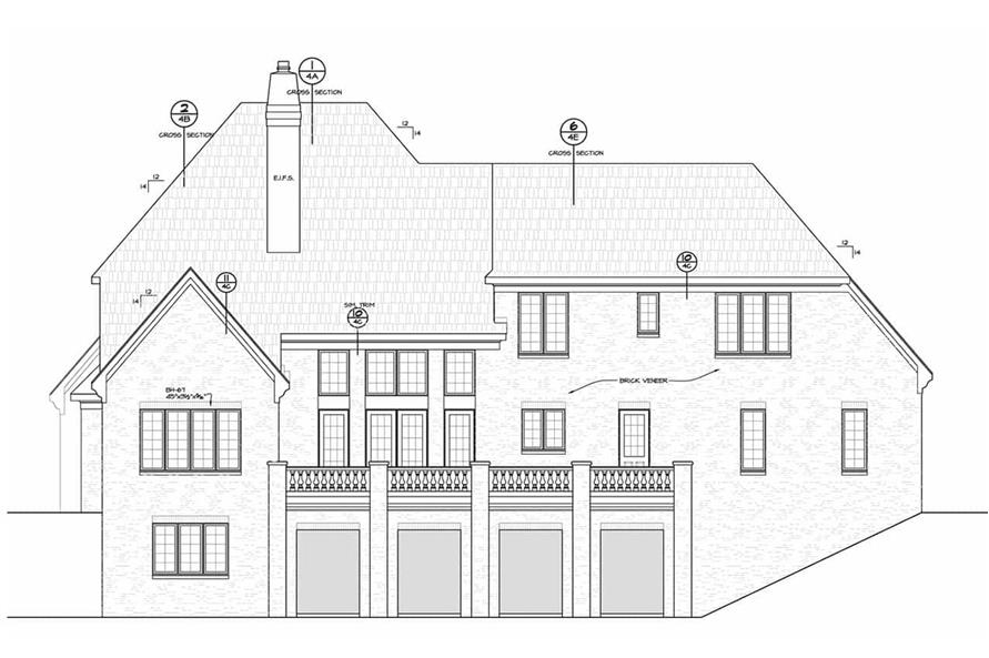 Home Plan Rear Elevation of this 6-Bedroom,5963 Sq Ft Plan -120-2700