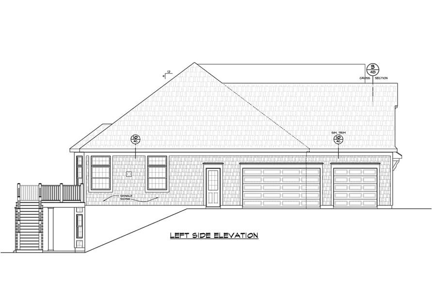 Home Plan Left Elevation of this 5-Bedroom,4988 Sq Ft Plan -120-2701