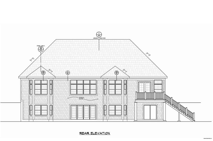 Home Plan Rear Elevation of this 5-Bedroom,4988 Sq Ft Plan -120-2701