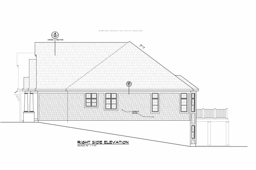 Home Plan Right Elevation of this 5-Bedroom,4988 Sq Ft Plan -120-2701