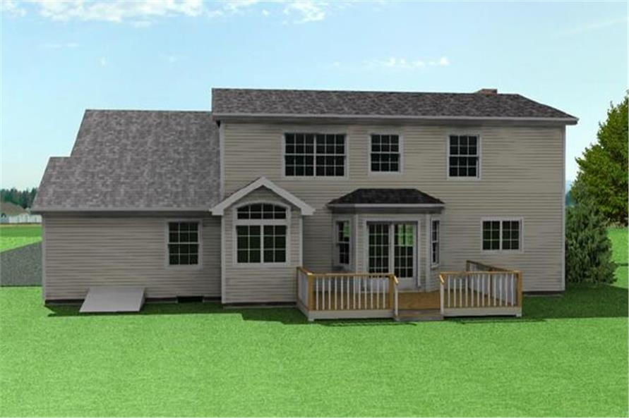 Home Plan Rear Elevation of this 3-Bedroom,1728 Sq Ft Plan -121-1010