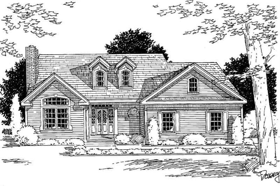 Home Plan Front Elevation of this 3-Bedroom,1728 Sq Ft Plan -121-1010