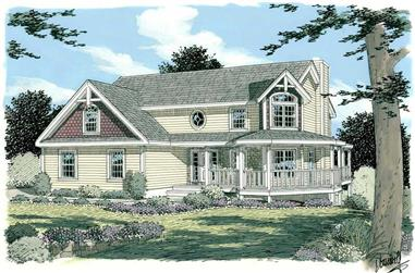 3-Bedroom, 1591 Sq Ft Country Home Plan - 121-1012 - Main Exterior