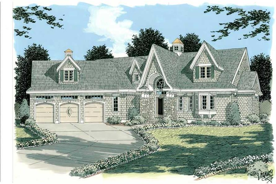 3-Bedroom, 2990 Sq Ft Country House Plan - 121-1023 - Front Exterior