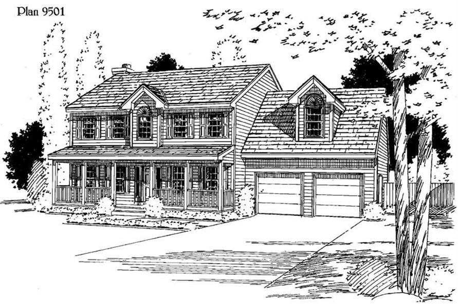 3-Bedroom, 2012 Sq Ft Country House Plan - 121-1030 - Front Exterior
