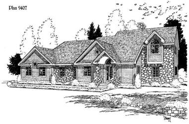 3-Bedroom, 3113 Sq Ft 1 1/2 Story House Plan - 121-1032 - Front Exterior