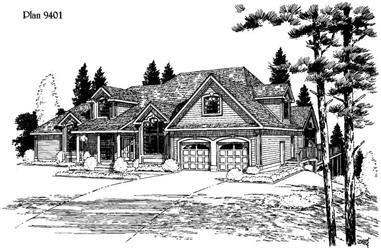 4-Bedroom, 3363 Sq Ft Country House Plan - 121-1033 - Front Exterior