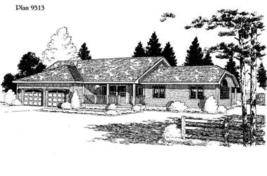 3-Bedroom, 1873 Sq Ft House Plan - 121-1035 - Front Exterior